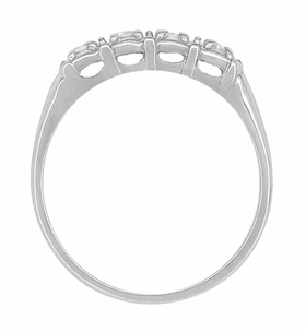 Antique Retro Moderne Four Diamond Filigree Wedding Ring | 14 Karat White Gold - Item R752 - Image 1