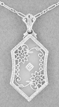 Art Deco Filigree Crystal and Diamond Pendant Necklace in Sterling Silver