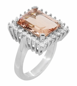 Retro Ballerina Emerald Cut Morganite Ring with Diamonds in 18 Karat White Gold - Item R1176MW - Image 1