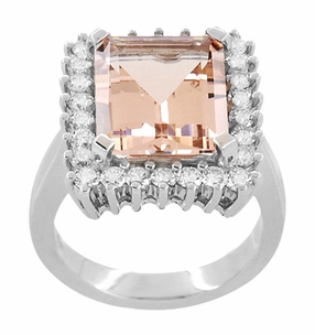 Retro Ballerina Emerald Cut Morganite Ring with Diamonds in 18 Karat White Gold - Item R1176MW - Image 2