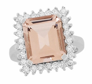 Retro Ballerina Emerald Cut Morganite Ring with Diamonds in 18 Karat White Gold - Item R1176MW - Image 3