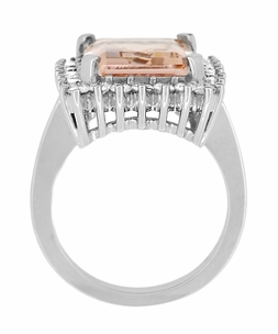 Retro Ballerina Emerald Cut Morganite Ring with Diamonds in 18 Karat White Gold - Click to enlarge