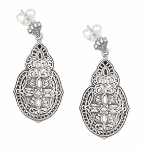 Art Deco Diamond Filigree Teardrop Earrings in Sterling Silver - Item E179 - Image 1