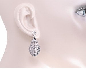 Art Deco Diamond Filigree Teardrop Earrings in Sterling Silver - Item E179 - Image 2