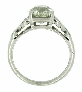 Antique 1.60 Carat Old Mine Cut Diamond and Side Emerald Platinum Engagement Ring - Item CS1 - Image 1