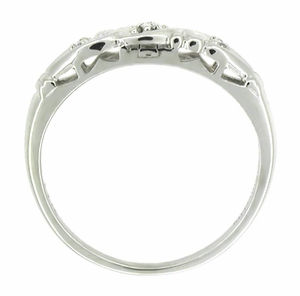 Art Deco Diamond Set Filigree Wedding Ring in 14 Karat White Gold - Click to enlarge