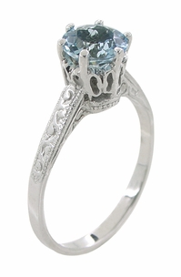 Art Deco 1 Carat Crown Aquamarine Engagement Ring in 18 Karat White Gold - Click to enlarge