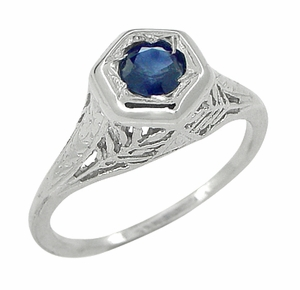 Art Deco Blue Sapphire Filigree Ring in 14 Karat White Gold - Item R365 - Image 1
