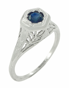 Art Deco Blue Sapphire Filigree Ring in 14 Karat White Gold - Click to enlarge