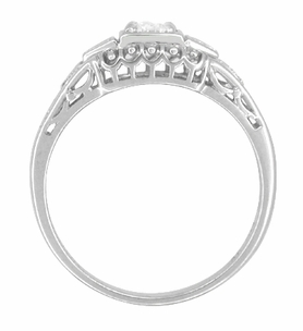 White Sapphire Filigree Art Deco Engagement Ring in 14 Karat White Gold - Item R228WS - Image 2