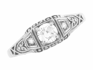 White Sapphire Filigree Art Deco Engagement Ring in 14 Karat White Gold - Item R228WS - Image 3