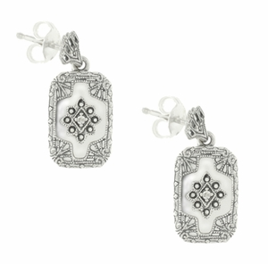 Filigree Crystal and Diamonds Art Deco Earrings in Sterling Silver - Item SSE1CR - Image 1