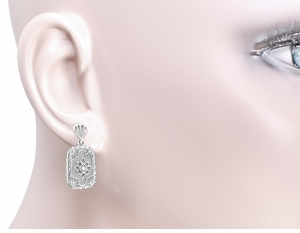 Art Deco Filigree Crystal and Diamond Set Earrings in Sterling Silver - Click to enlarge