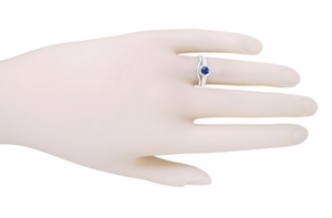 Art Deco Filigree Sapphire and Diamond Platinum Engagement Ring - Item R298S - Image 3