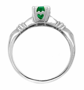 Art Deco Hearts and Clovers Emerald Engagement Ring in 14 Karat White Gold - Click to enlarge