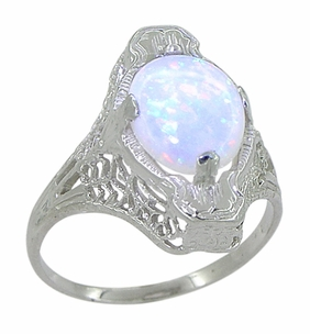 White Opal Filigree Ring in 14 Karat White Gold - Art Deco - Click to enlarge