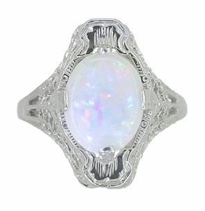 White Opal Filigree Ring in 14 Karat White Gold - Art Deco - Item R360 - Image 3