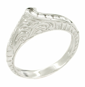Channel Set Diamond Art Deco Wave Ring in 14 Karat White Gold - Click to enlarge