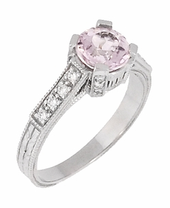 Art Deco 1 Carat Pink Tourmaline Castle Engagement Ring in 18 Karat White Gold - Item R664PT - Image 1