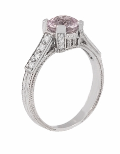 Art Deco 1 Carat Pink Tourmaline Castle Engagement Ring in 18 Karat White Gold - Click to enlarge
