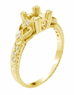 Loving Hearts Art Deco Engraved Antique Style Engagement Ring Setting for a 1 Carat Princess Cut or Round Diamond in 18 Karat Yellow Gold - Item R459Y1 - Image 1