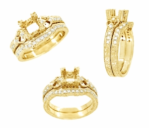 Loving Hearts Art Deco Engraved Antique Style Engagement Ring Setting for a 1 Carat Princess Cut or Round Diamond in 18 Karat Yellow Gold - Click to enlarge