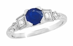 Sapphire and Diamond Art Deco Engagement Ring in Platinum