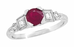 Ruby and Diamond Art Deco Engagement Ring in Platinum