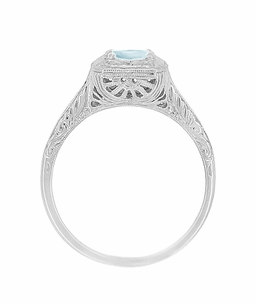 Filigree Scrolls Engraved Aquamarine Engagement Ring in 14 Karat White Gold - Click to enlarge