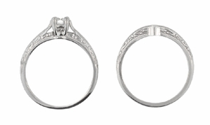 Art Deco Engraved Scrolls Diamond Engagement Ring and Wedding Ring Set in 14 Karat White Gold - Click to enlarge