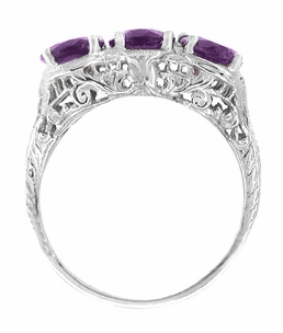 Oval Trio Amethyst Filigree Ring in 14 Karat White Gold - Click to enlarge