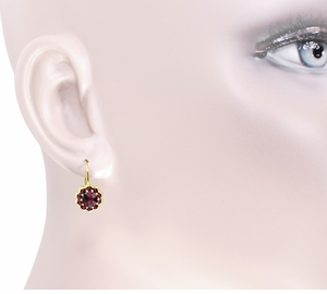 Bohemian Garnet Victorian Drop Earrings in 14 Karat Yellow Gold and Sterling Silver Vermeil - Item E128 - Image 2