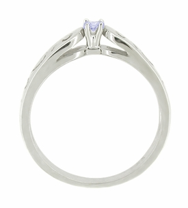 Filigree Scrolls Tanzanite Ring in 14 Karat White Gold - Click to enlarge