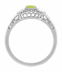Art Deco Peridot and Diamond Filigree Ring in 14 Karat White Gold - Item R228WPER - Image 1
