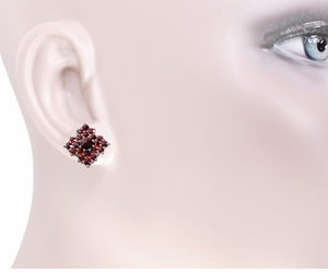 Victorian Bohemian Garnet Galaxy Stud Earrings in 14 Karat Gold and Antiqued Sterling Silver - Click to enlarge