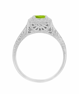 Peridot Filigree Scrolls Engraved Engagement Ring in 14 Karat Whte Gold - Click to enlarge
