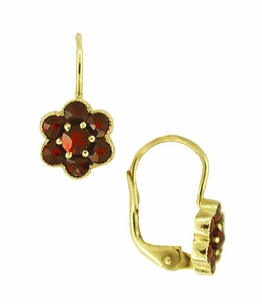 Small Bohemian Garnet Victorian Drop Earrings in 14 Karat Yellow Gold and Sterling Silver Vermeil - Click to enlarge