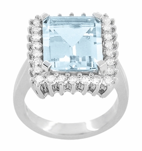 Emerald Cut Aquamarine Ballerina Ring with Diamonds in 18 Karat White Gold - Item R1176WA - Image 2