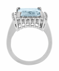 Emerald Cut Aquamarine Ballerina Ring with Diamonds in 18 Karat White Gold - Item R1176WA - Image 4