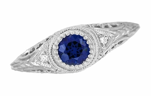 Art Deco Engraved Sapphire and Diamond Filigree Engagement Ring in 14 Karat White Gold - Click to enlarge
