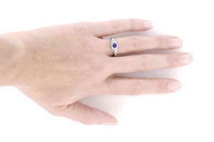 Art Deco Engraved Sapphire and Diamond Filigree Engagement Ring in 14 Karat White Gold - Item R138 - Image 4