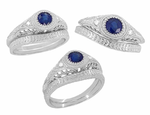 Art Deco Engraved Sapphire and Diamond Filigree Engagement Ring in 14 Karat White Gold - Item R138 - Image 5