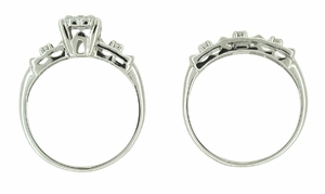Retro Moderne Diamond Wedding Set in 14 Karat White Gold - Item R219 - Image 1