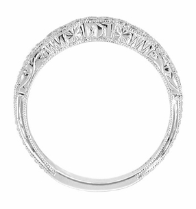 Art Deco Scalloped Engraved Contoured Diamond Wedding Band in Platinum - Click to enlarge