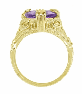 Amethyst Art Deco Filigree Ring in 14 Karat Yellow Gold - Item R157YAM - Image 1