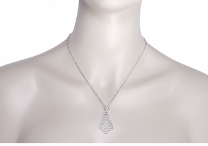 Scalloped Leaf Dangling Filigree Edwardian Pendant Necklace in Sterling Silver - Click to enlarge