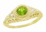 Art Deco Engraved Peridot and Diamond Filigree Engagement Ring in 18 Karat Yellow Gold
