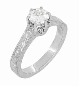 Art Deco Crown Filigree Scrolls Engraved 1 Carat White Sapphire Engagement Ring in 18 Karat White Gold - Click to enlarge