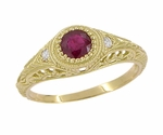 Art Deco Engraved Ruby and Diamond Filigree Engagement Ring in 18 Karat Yellow Gold