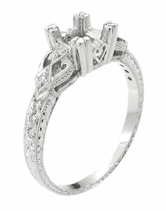 Loving Hearts 3/4 Carat Princess Cut Diamond Engraved Antique Style Platinum Art Deco Engagement Ring Setting - Item R459P - Image 2